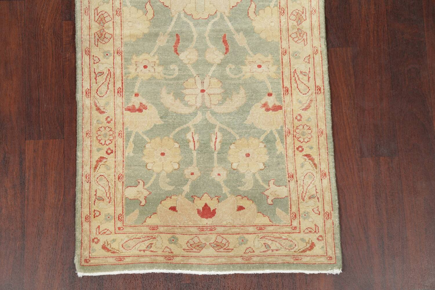Muted Green Floral Oushak Egyptian Runner Rug 2x12 image 8