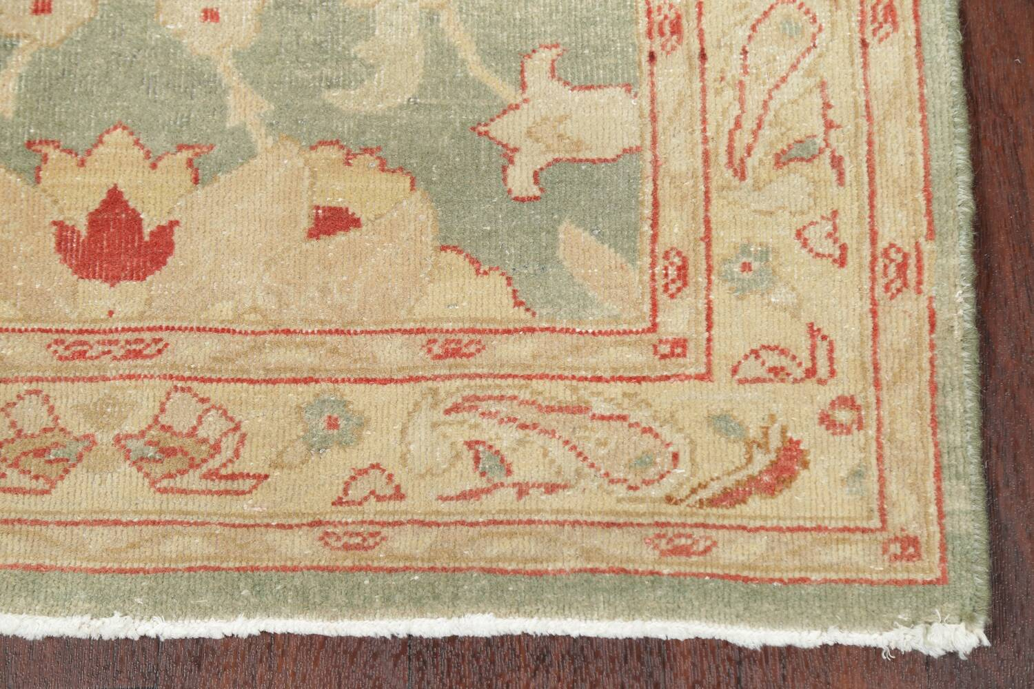 Muted Green Floral Oushak Egyptian Runner Rug 2x12 image 5