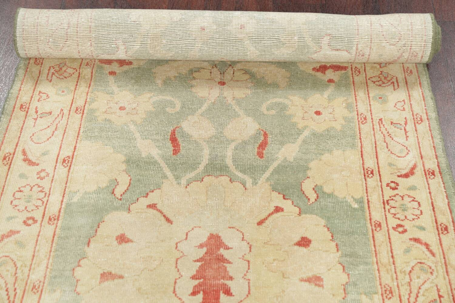 Muted Green Floral Oushak Egyptian Runner Rug 2x12 image 17