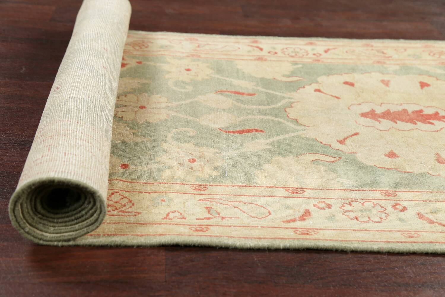 Muted Green Floral Oushak Egyptian Runner Rug 2x12 image 18