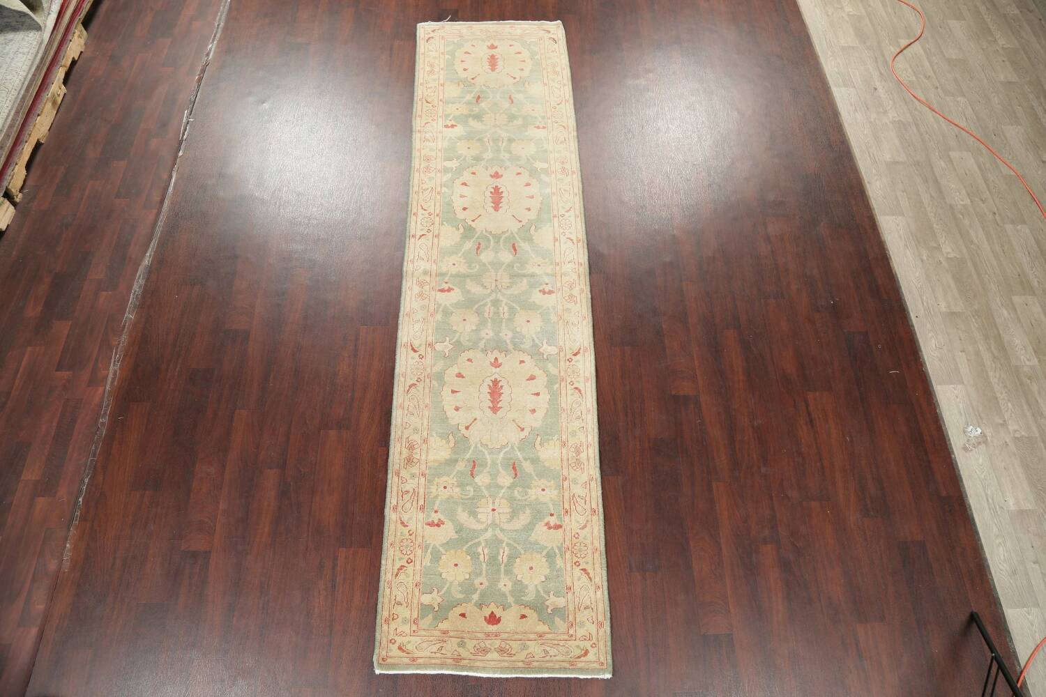 Muted Green Floral Oushak Egyptian Runner Rug 2x12 image 2