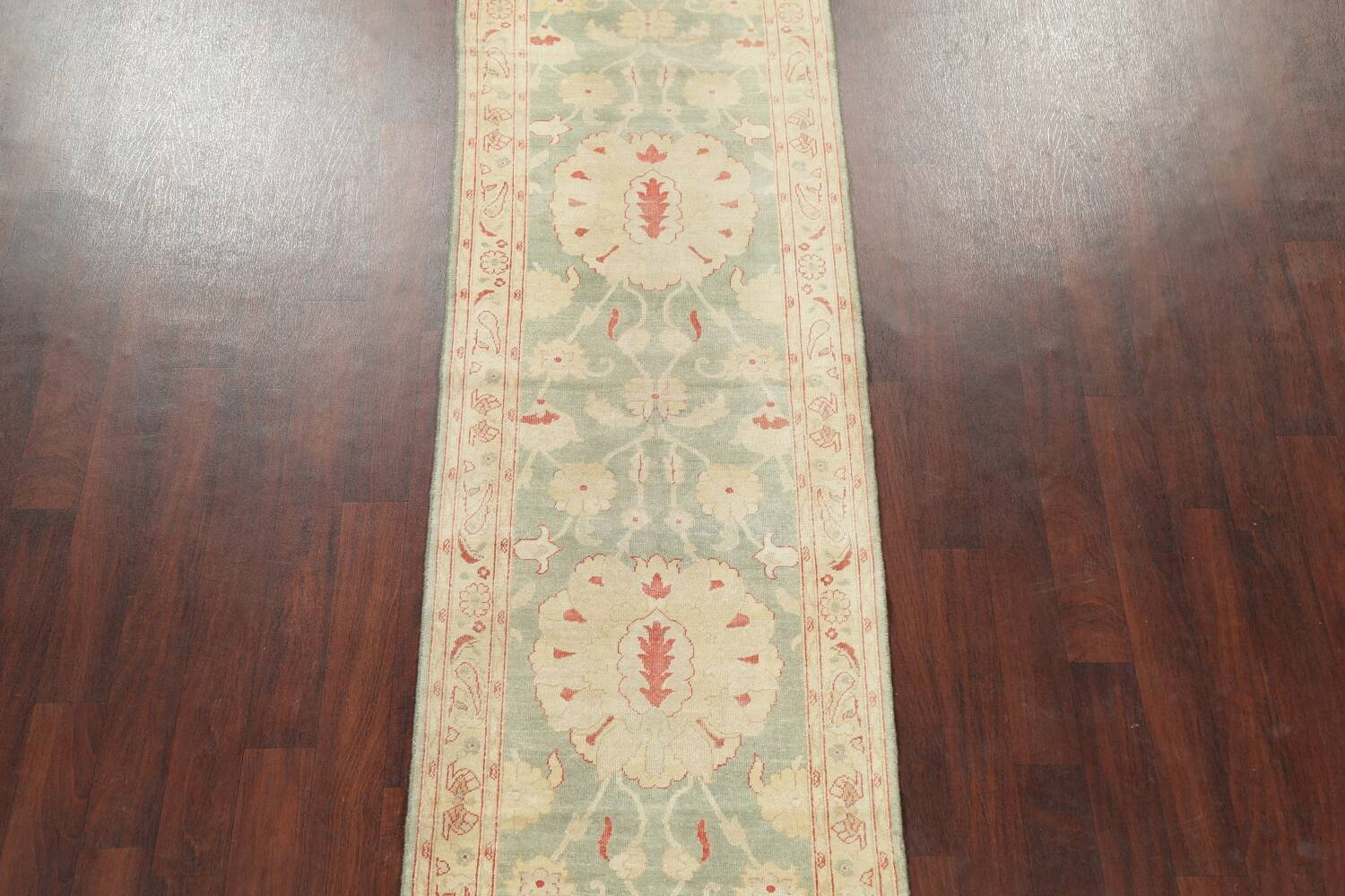 Muted Green Floral Oushak Egyptian Runner Rug 2x12 image 3