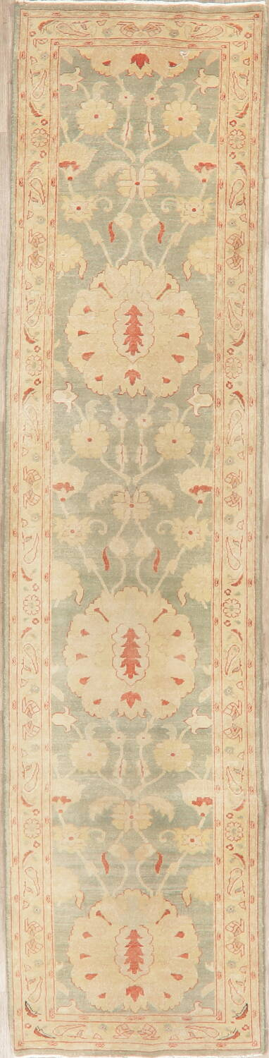 Muted Green Floral Oushak Egyptian Runner Rug 2x12 image 1