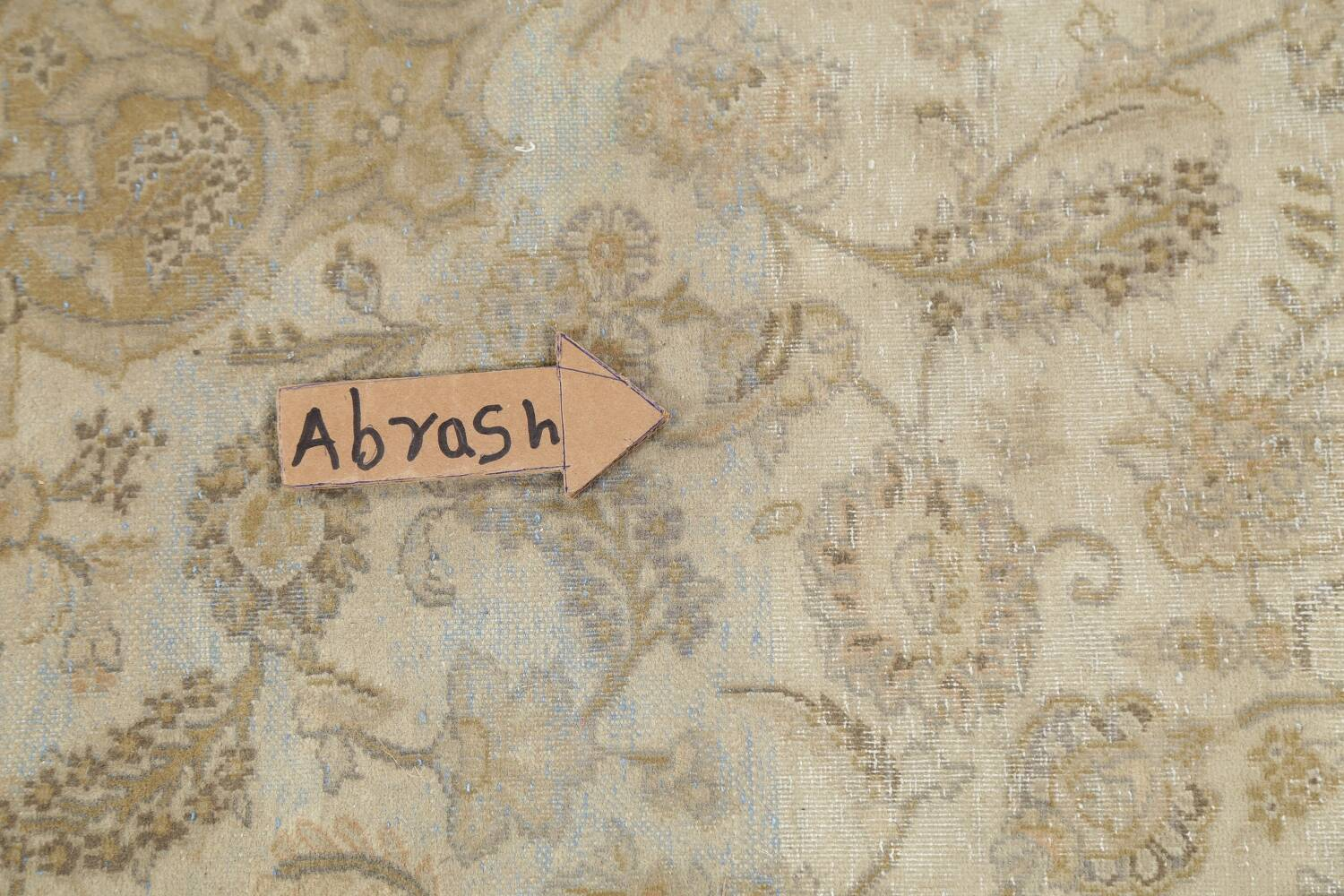 Muted Distressed Antique Kashan Persian Area Rug 7x10 image 15