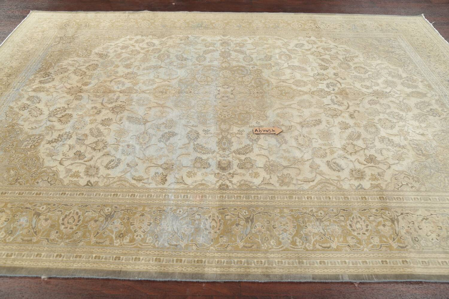 Muted Distressed Antique Kashan Persian Area Rug 7x10 image 16