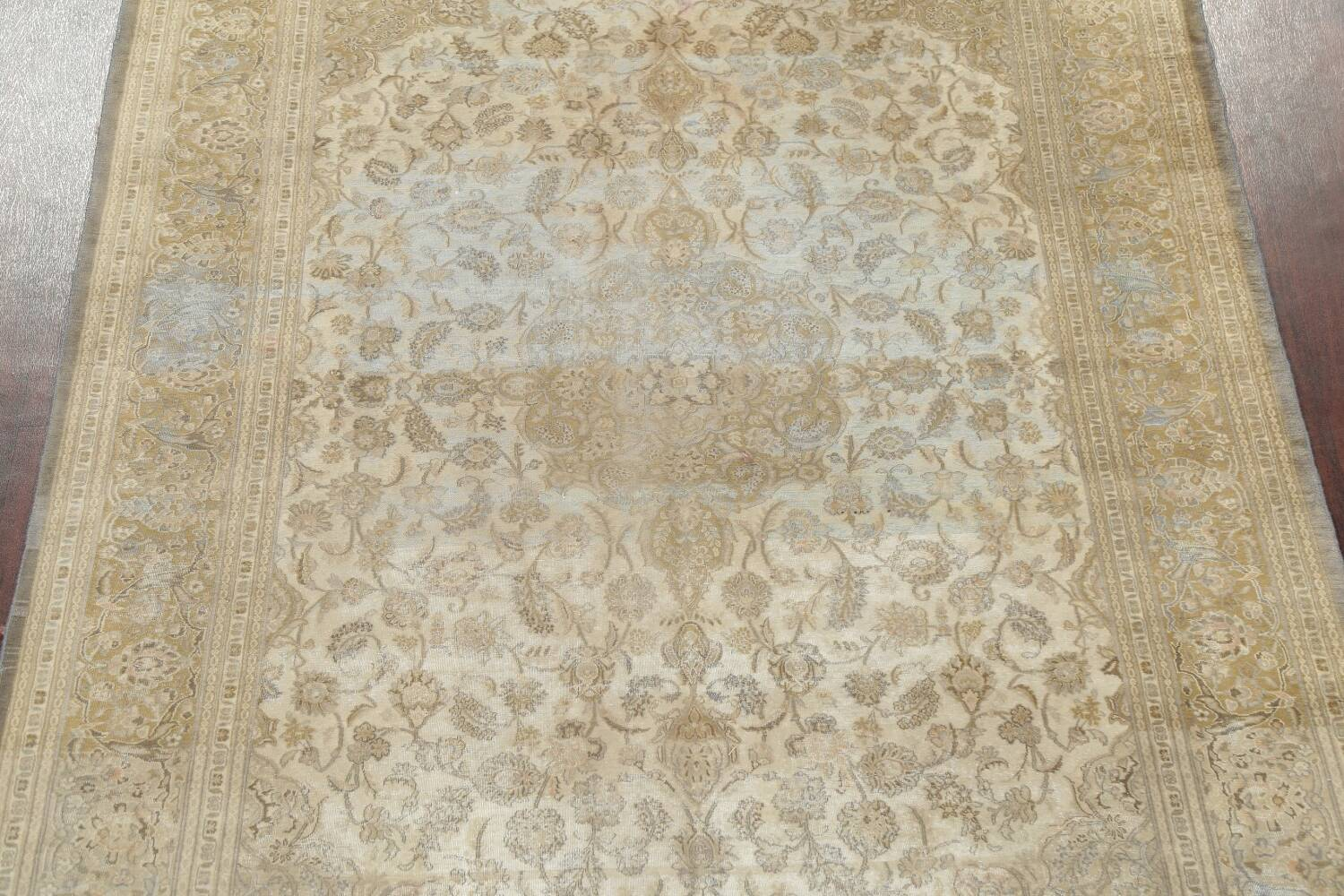 Muted Distressed Antique Kashan Persian Area Rug 7x10 image 3