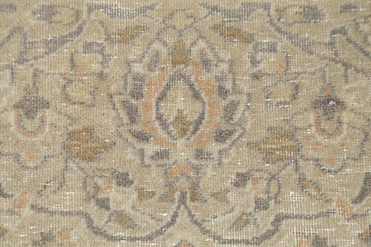 Muted Distressed Antique Kashan Persian Area Rug 7x10 image 9