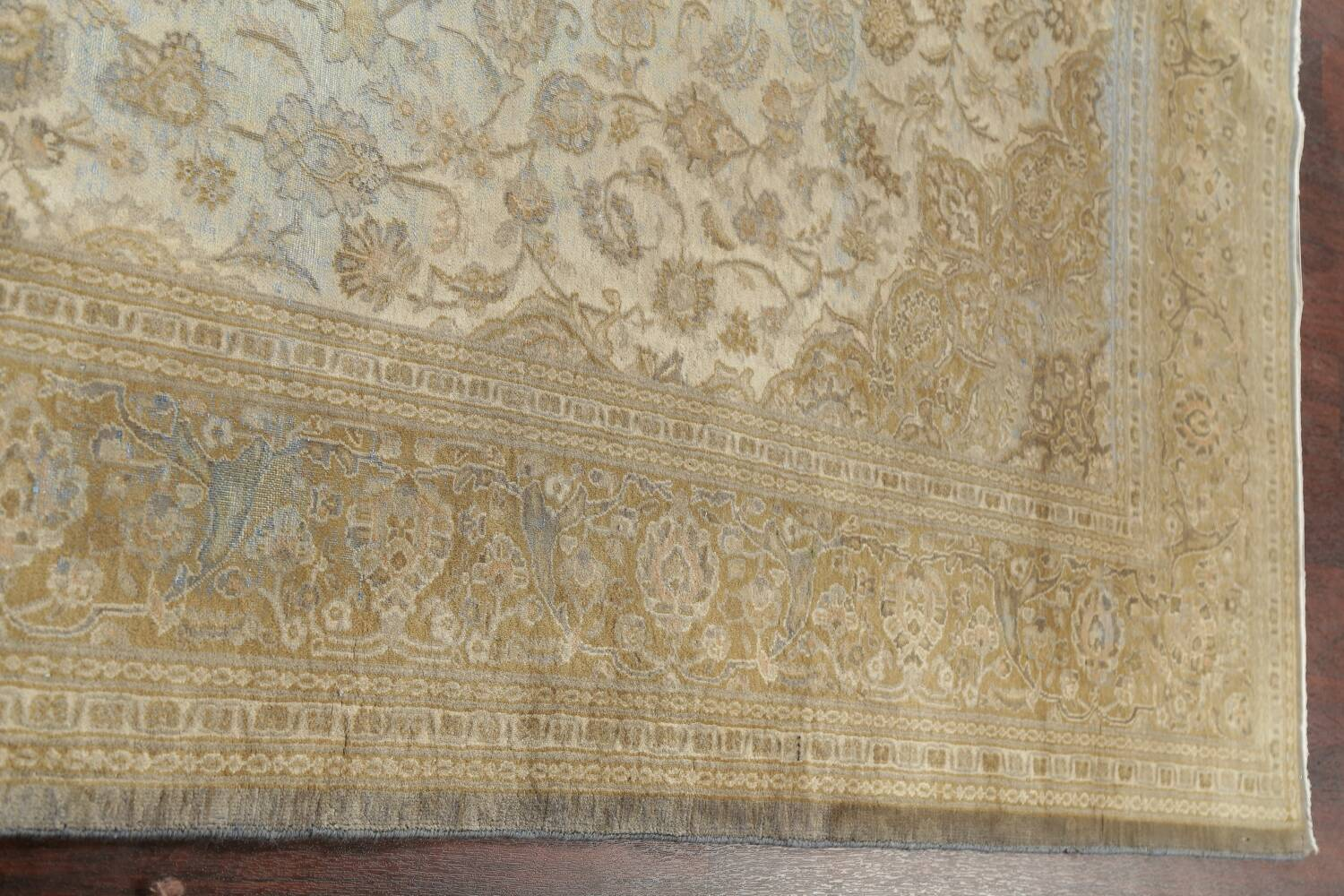 Muted Distressed Antique Kashan Persian Area Rug 7x10 image 18