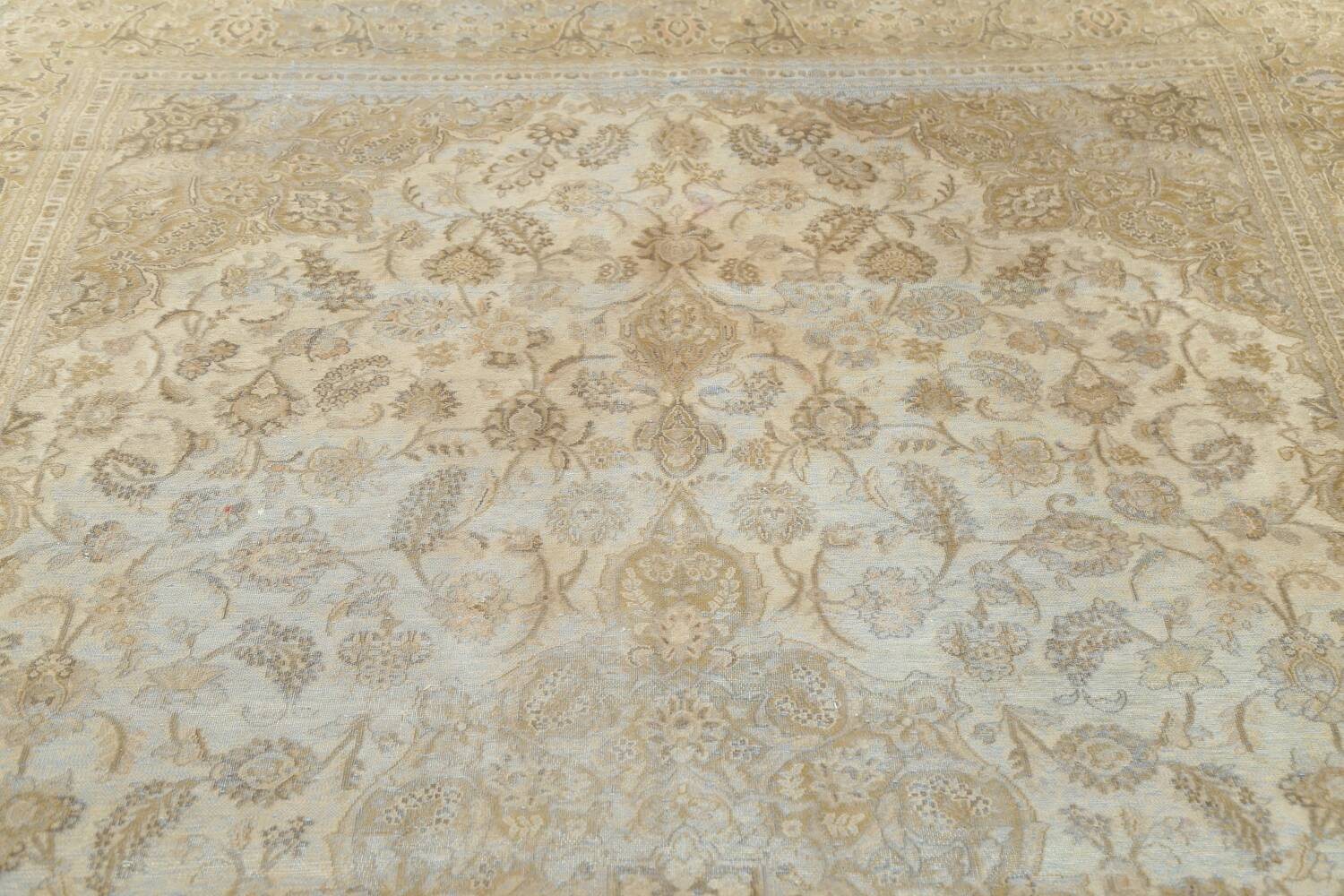 Muted Distressed Antique Kashan Persian Area Rug 7x10 image 17