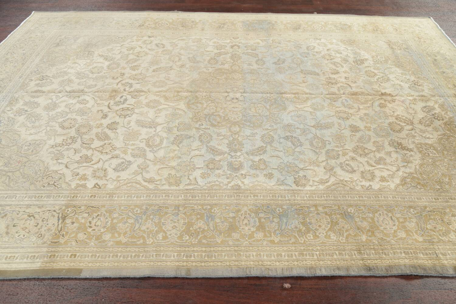 Muted Distressed Antique Kashan Persian Area Rug 7x10 image 19