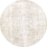 Distressed Tabriz Persian Beige Area Rug 8x8 Round