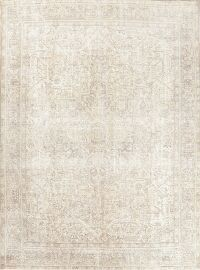 Distressed Tabriz Beige Persian Area Rug 9x13