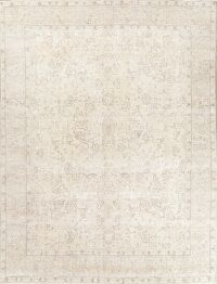 Muted Tabriz Ivory Persian Area Rug 10x11