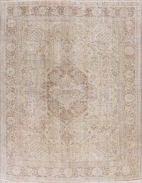 Antique Tabriz Beige Persian Area Rug 8x11