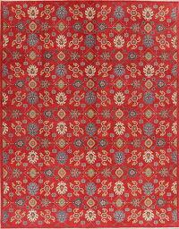 All-Over Red Super Kazak Oriental Area Rug 9x12