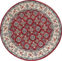 Round Geometric Red Super Kazak Area Rug 10x10