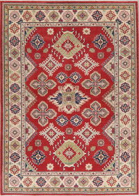 Geometric Red Super Kazak Area Rug 6x9
