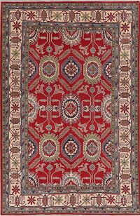 Geometric Red 6x10 Super Kazak Area Rug