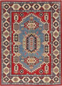 Light Blue Geometric 6x8 Super Kazak Area Rug