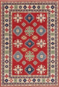 Geometric Red 6x9 Super Kazak Area Rug