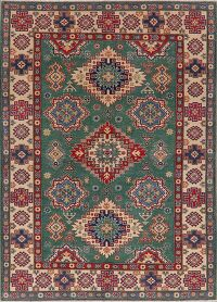 Green Geometric 6x8 Super Kazak Area Rug