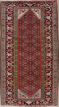 Vintage Geometric Red Ardebil Persian Area Rug 4x7