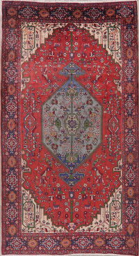 Vintage Geometric Red Bidjar Persian Area Rug 5x9