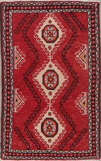 Vintage Geometric Red Balouch Persian Area Rug 4x6