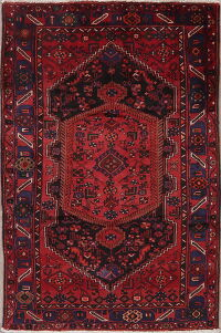 Red Tribal Geometric Hamedan Persian Area Rug 5x7