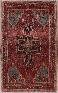 Tribal Red Geometric Bidjar Persian Area Rug 4x7