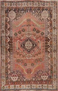 Tribal Antique Coral Pink Qashqai Persian Area Rug 5x8