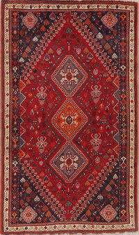 Vintage Tribal Red Abadeh Nafar Persian Area Rug 5x8