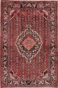 Animal Pictorial Vintage Red Bidjar Persian Area Rug 5x7