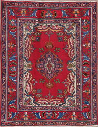 Floral Red Tabriz Persian Area Rug 5x6