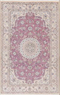 Light Purple Floral Nain Persian Area Rug 5x8