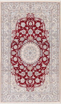 Floral Red Nain Persian Area Rug 5x9