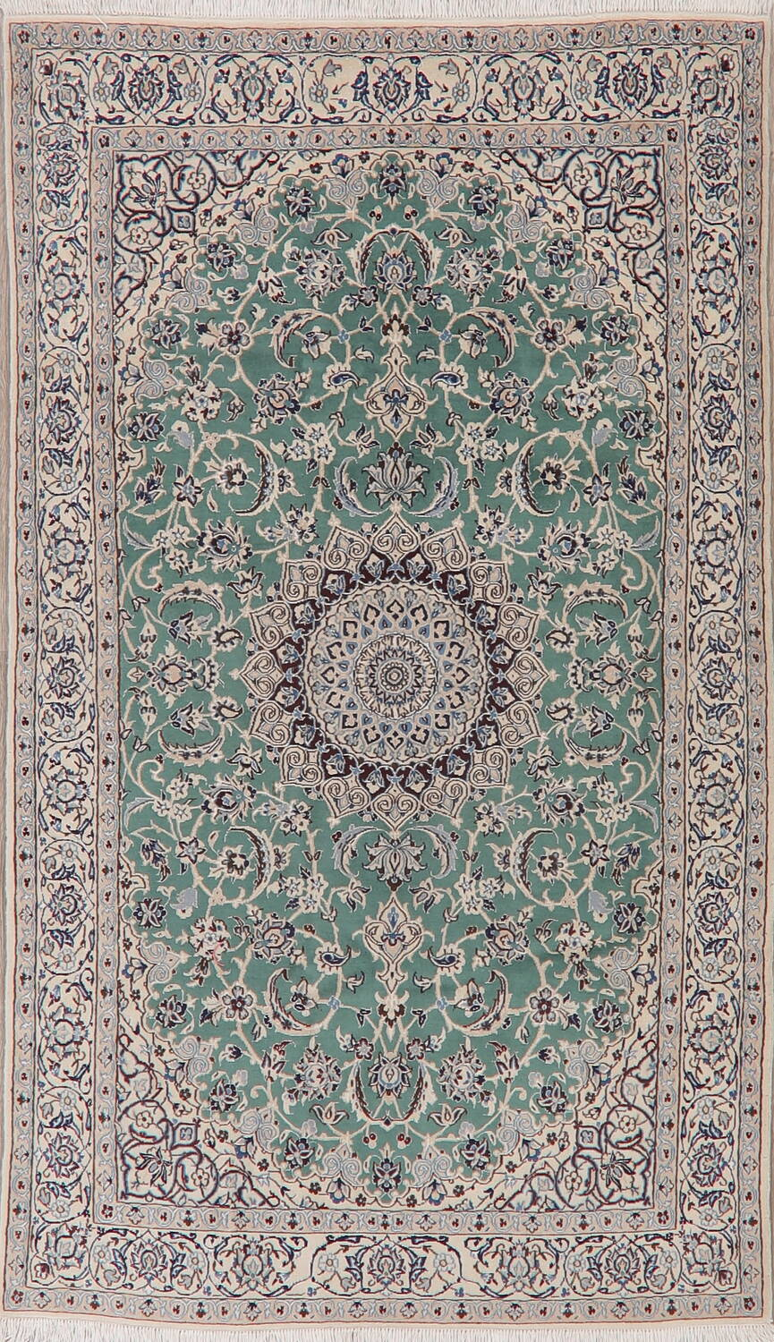 Picture of: Vintage Green Floral Nain Persian Area Rug 4×7
