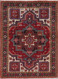 Geometric Red Heriz Persian Area Rug 5x7