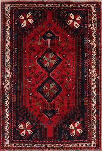 Tribal Geometric Red Shiraz Persian Area Rug 6x9