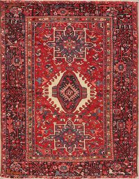 Red Tribal Geometric Gharajeh Persian Area Rug 5x6