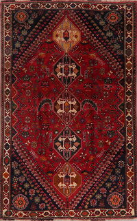 Vintage Red Geometric Abadeh Persian Area Rug 6x9