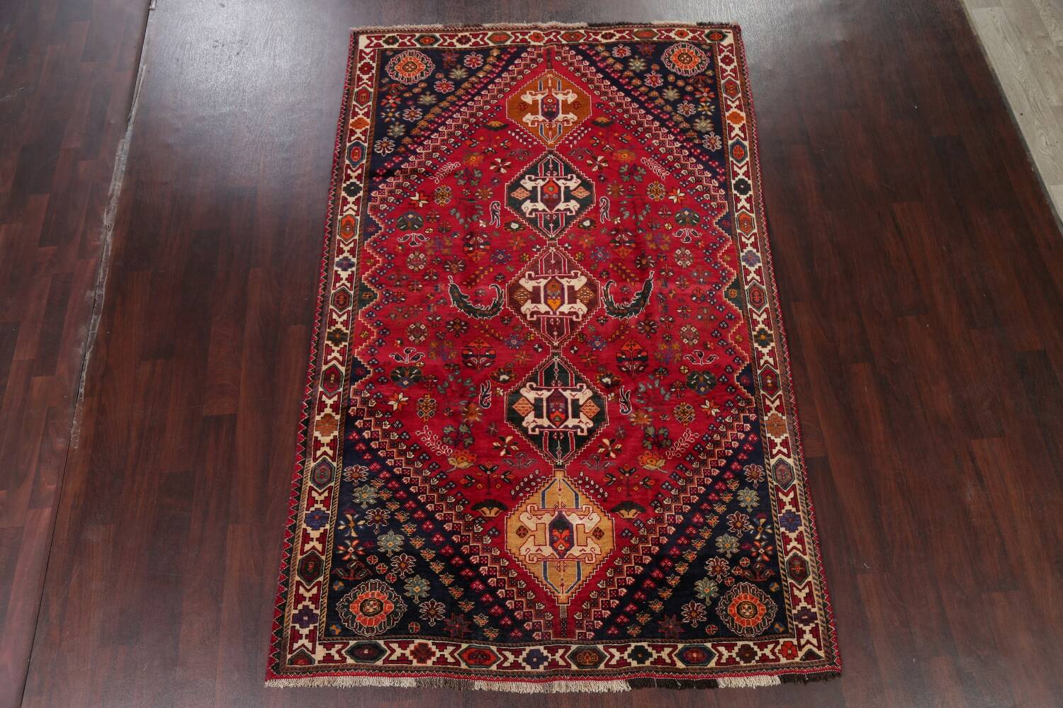 Vintage Red Geometric Abadeh Persian Area Rug 6x9 image 2
