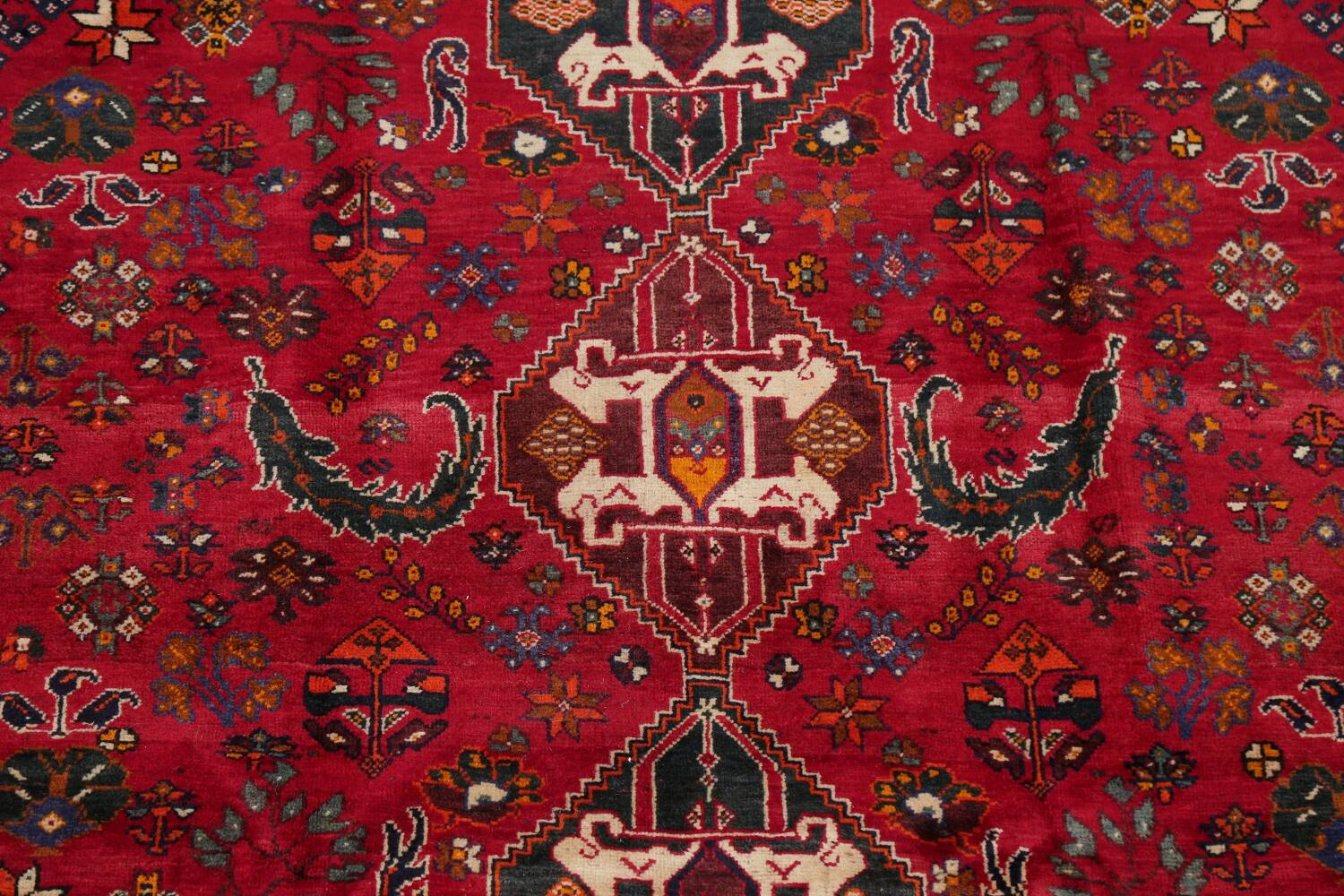 Vintage Red Geometric Abadeh Persian Area Rug 6x9 image 4