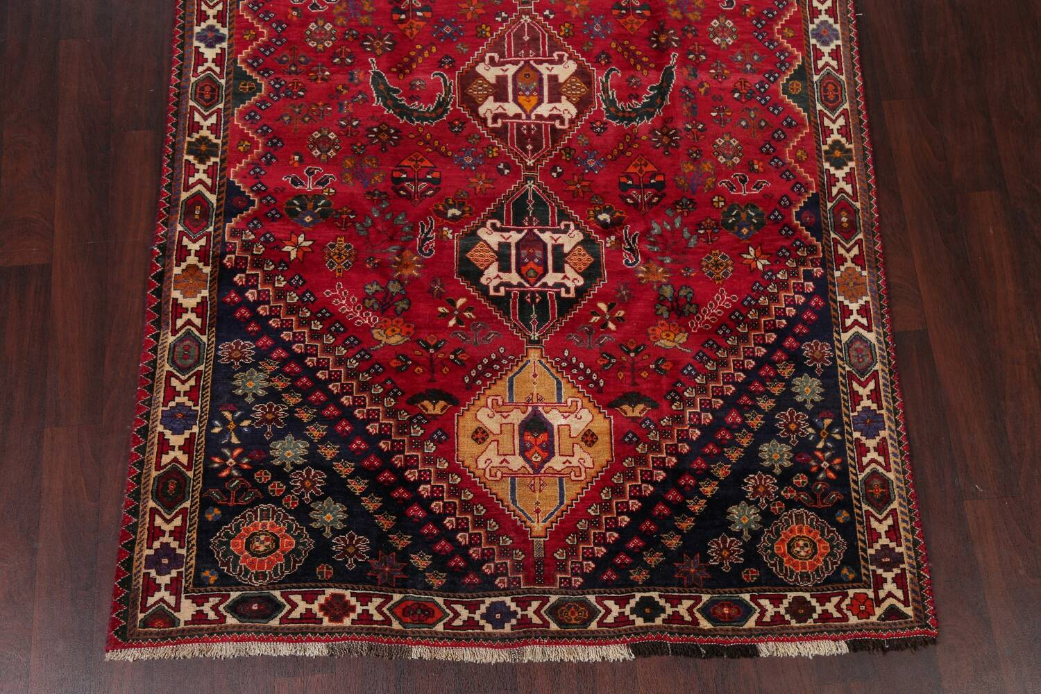 Vintage Red Geometric Abadeh Persian Area Rug 6x9 image 8