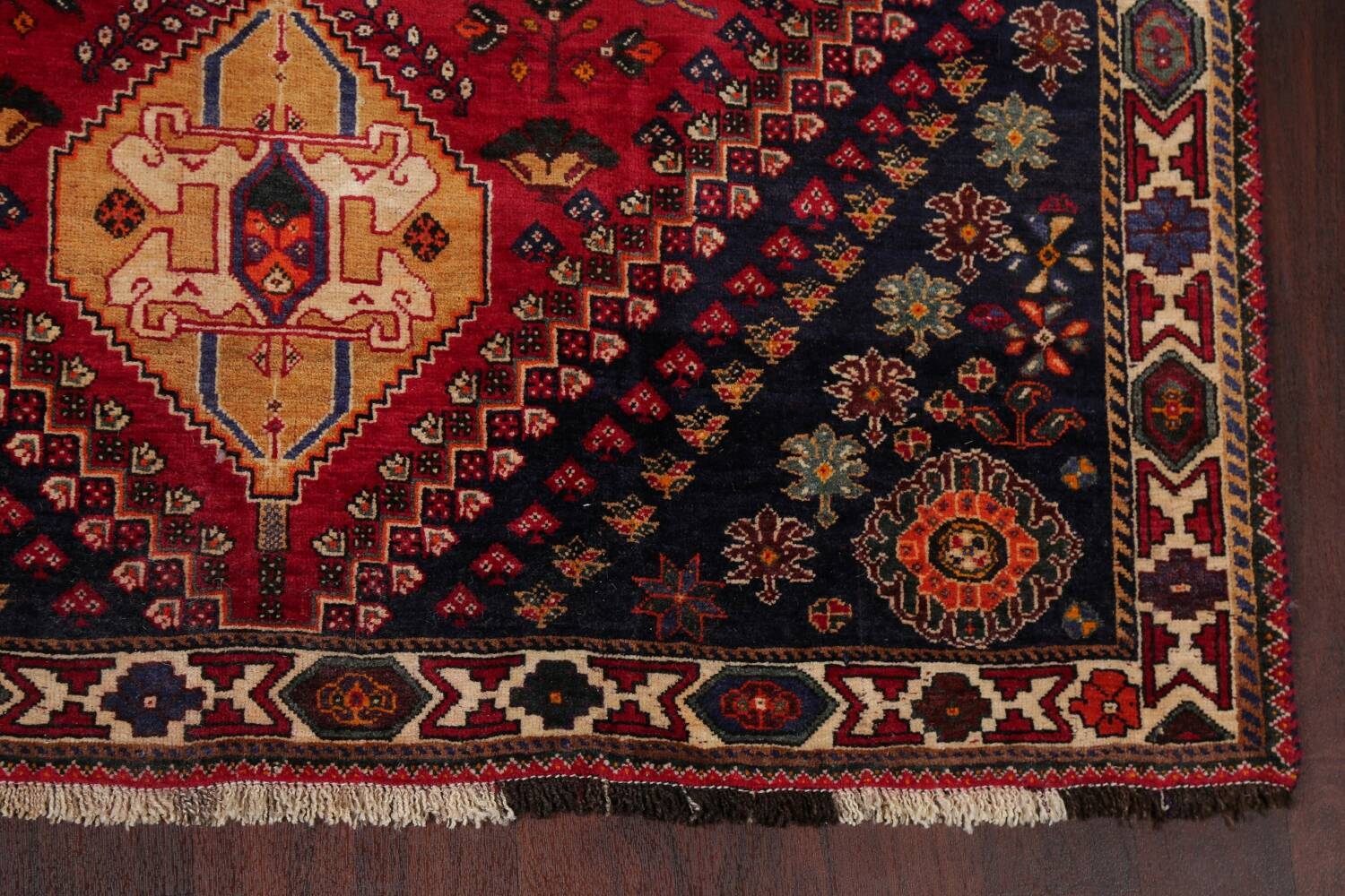 Vintage Red Geometric Abadeh Persian Area Rug 6x9 image 5