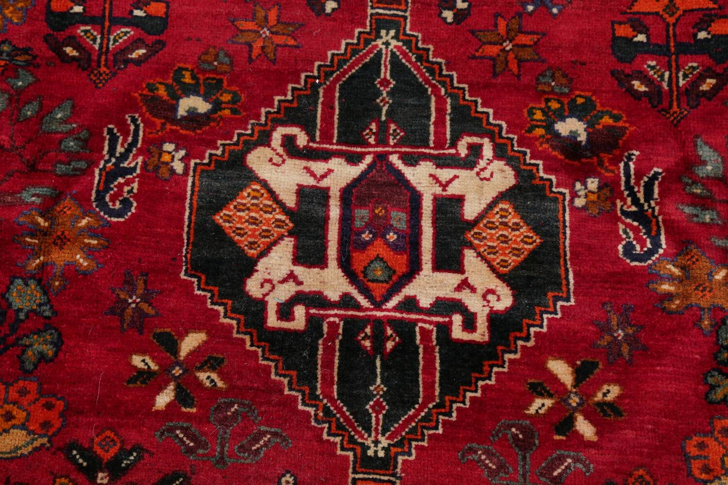 Vintage Red Geometric Abadeh Persian Area Rug 6x9 image 10
