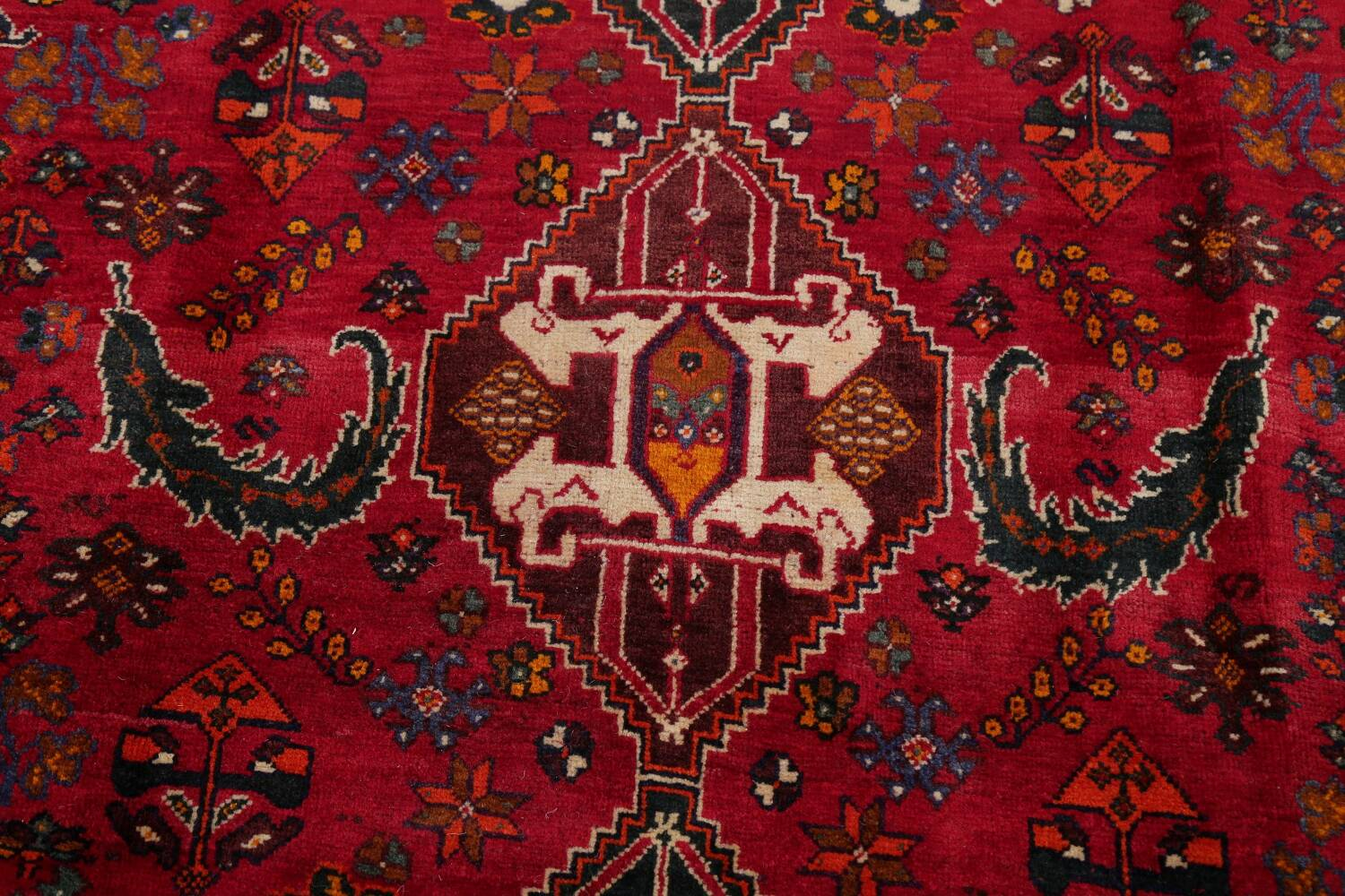 Vintage Red Geometric Abadeh Persian Area Rug 6x9 image 11