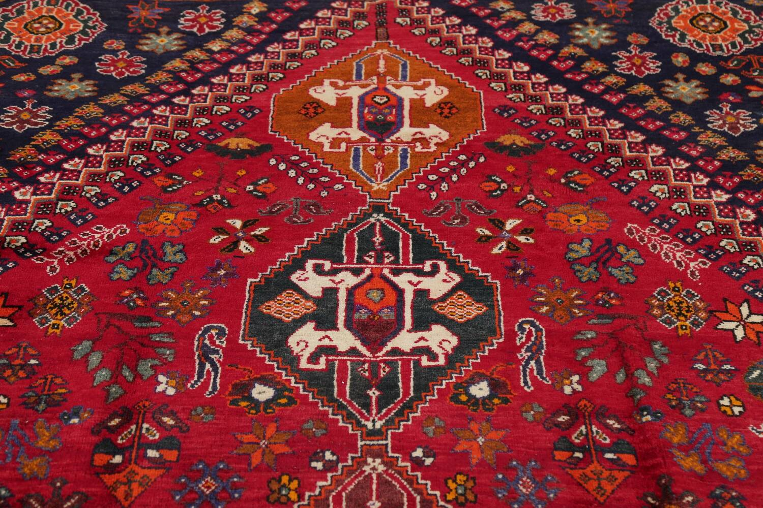 Vintage Red Geometric Abadeh Persian Area Rug 6x9 image 14