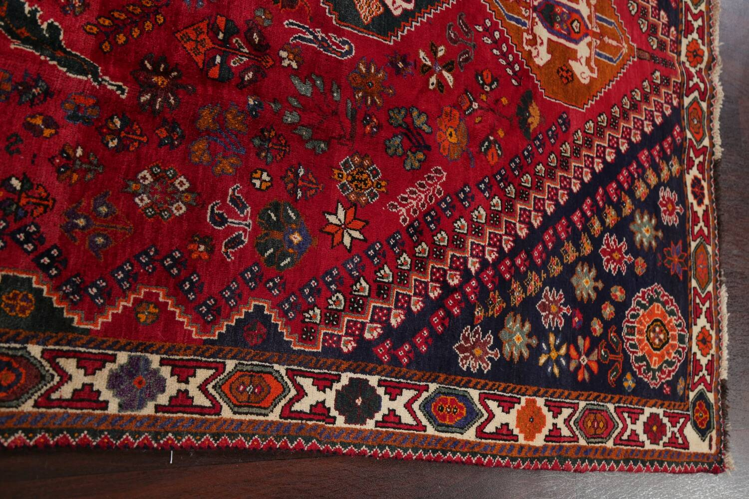 Vintage Red Geometric Abadeh Persian Area Rug 6x9 image 15