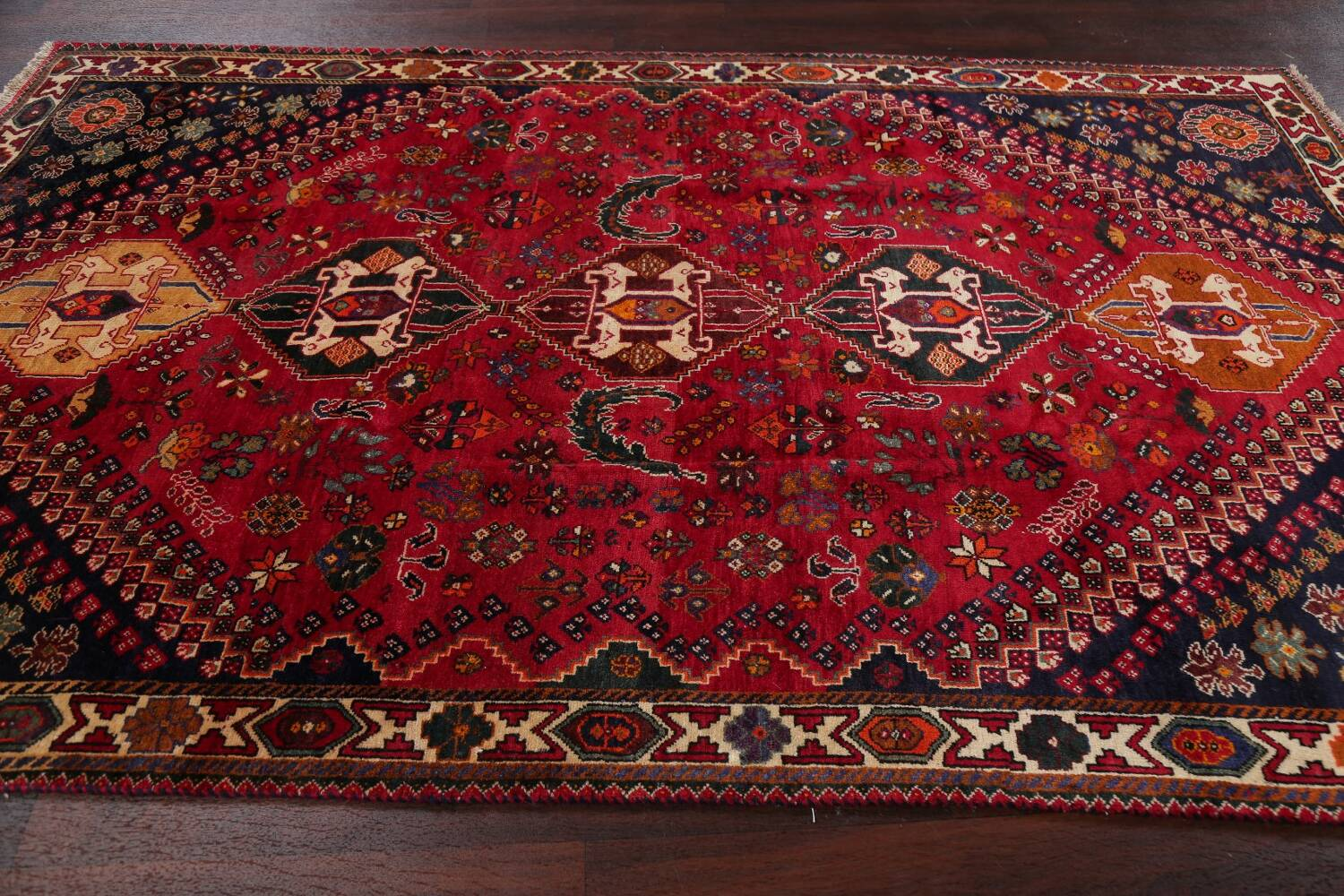 Vintage Red Geometric Abadeh Persian Area Rug 6x9 image 16